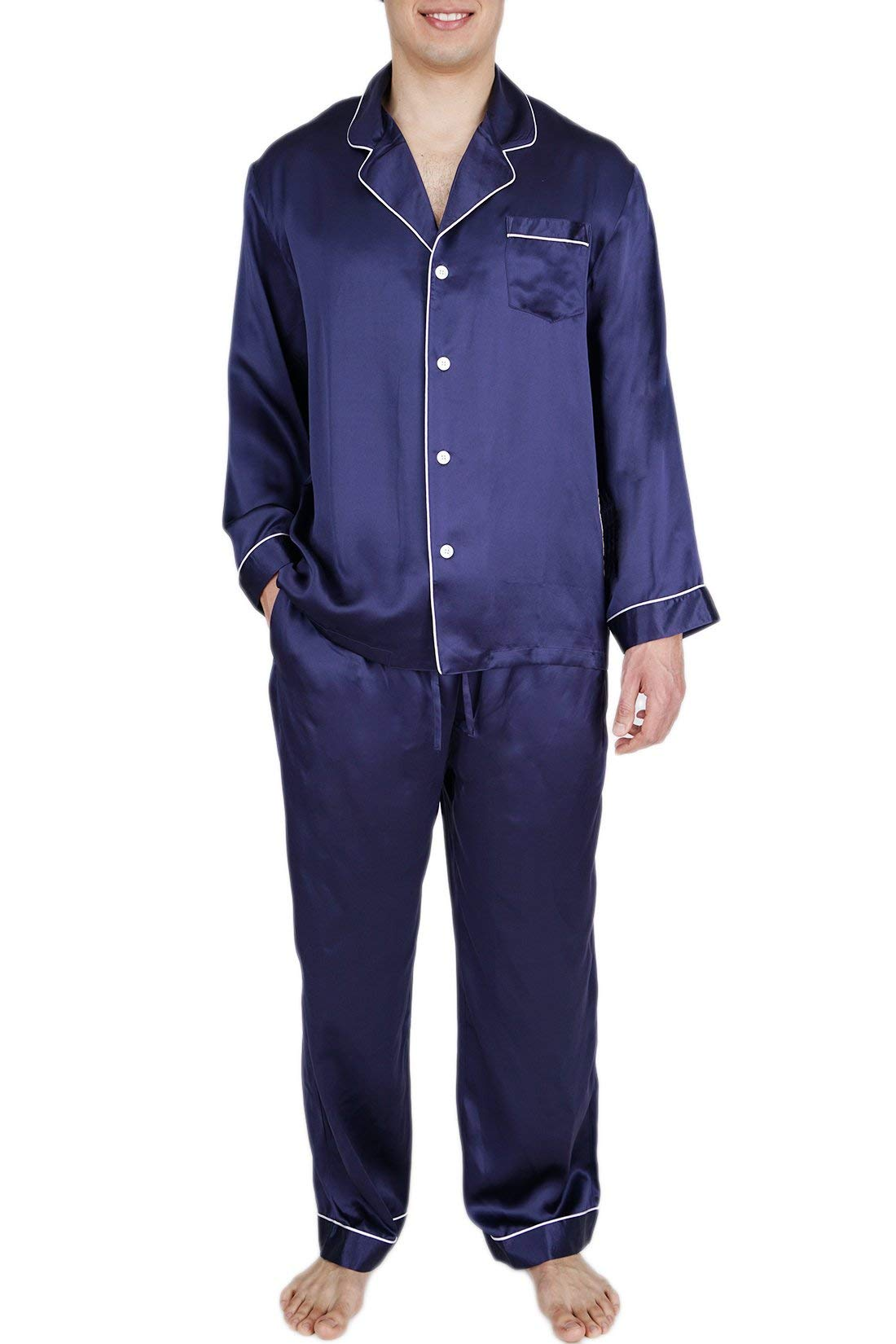 OSCAR ROSSA Men's Luxury Silk Sleepwear 100% Silk Pajamas Set Midnight Blue