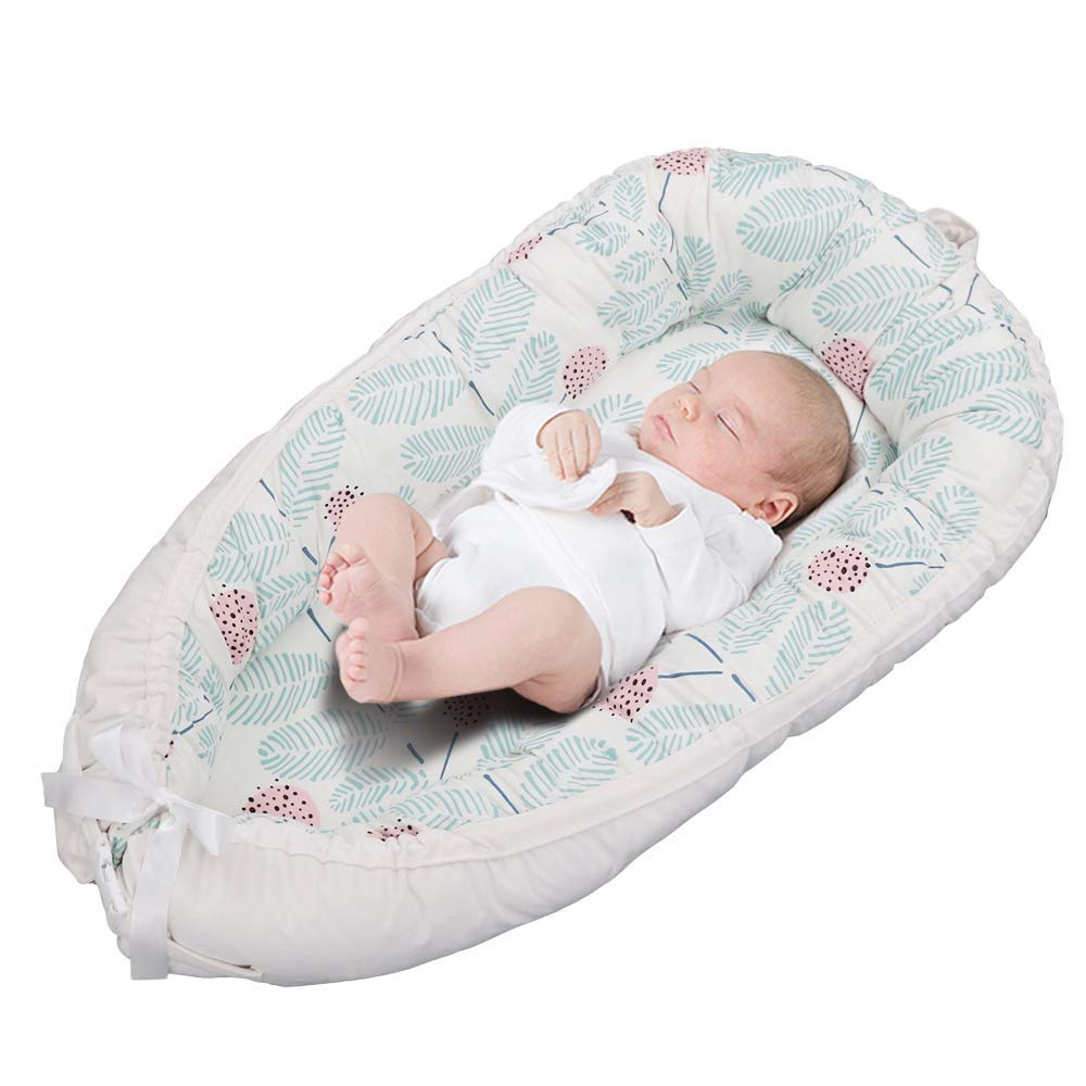 OSAYES Detachable Double-Sided Newborn Lounger, Portable Soft Breathable Baby Snuggle Nest, Removable Cover Baby Bionic Bed for Infants Toddlers - 100% Cotton & Suede Crib Mattress for Bedroom Travel by OSAYES