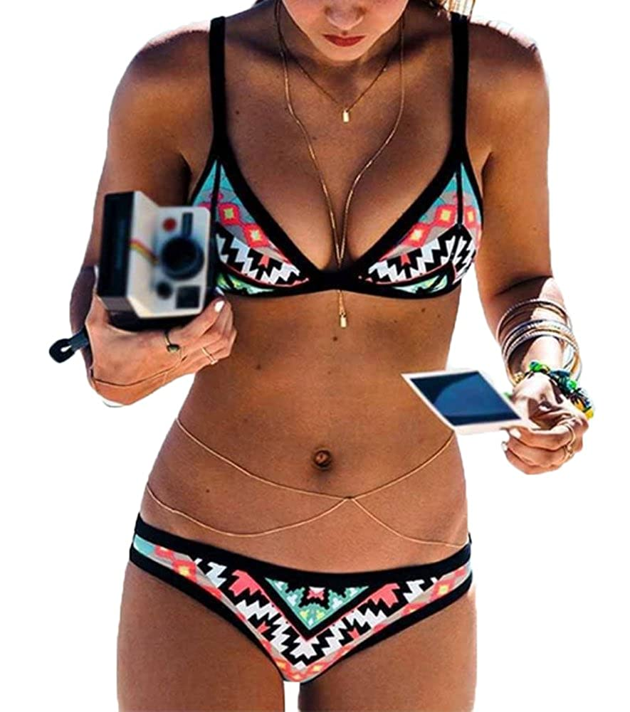 Women Two Piece Diamond Print Bikini Set Padded Push Up Bathing Suit Swimwear