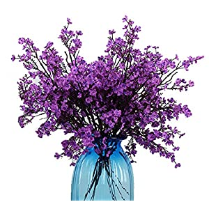 JAKY Global Babys Breath Fabric Cloth Artificial Flowers 4 Bundle European Fake Silk Plants Decor Wedding Party Decoration Bouquets Real Touch DIY Home Garden(Purple)