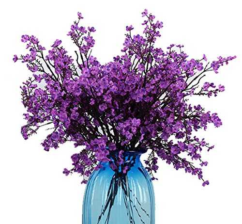 - JAKY Global Babys Breath Fabric Cloth Artificial Flowers 4 Bundle European Fake Silk Plants Decor Wedding Party Decoration Bouquets Real Touch DIY Home Garden(Purple)