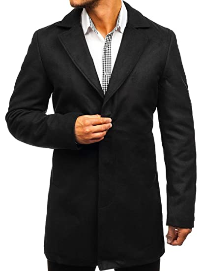 6062b3452a0c BOLF Men's Winter Coat Single Breasted Elegant Button Smart Casual Nature  5438 Black S [4D4