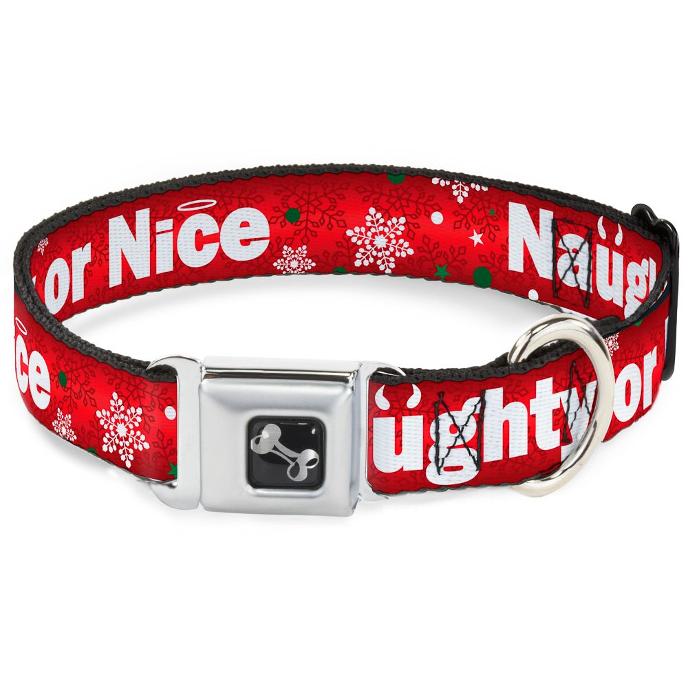 Buckle-Down 18-32  Christmas Naughty Or Nice Snowflakes Reds White Green Dog Collar Bone, Wide Large