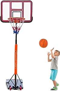 GreenGee PVC Portable Basketball Hoop Mini Basketball Court System for Kids Height Adjustable(5.08-8.6 ft) Basketball Goal Indoor Outdoor Basketball Court (US Stock