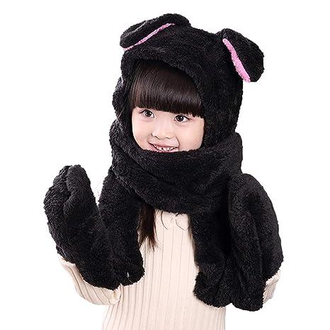 f587e706bd4 ITODA Kids Toddler Cartoon 3 in 1 Hat Scarf Gloves Set Winter Warm Coral  Fleece Hoodie ...