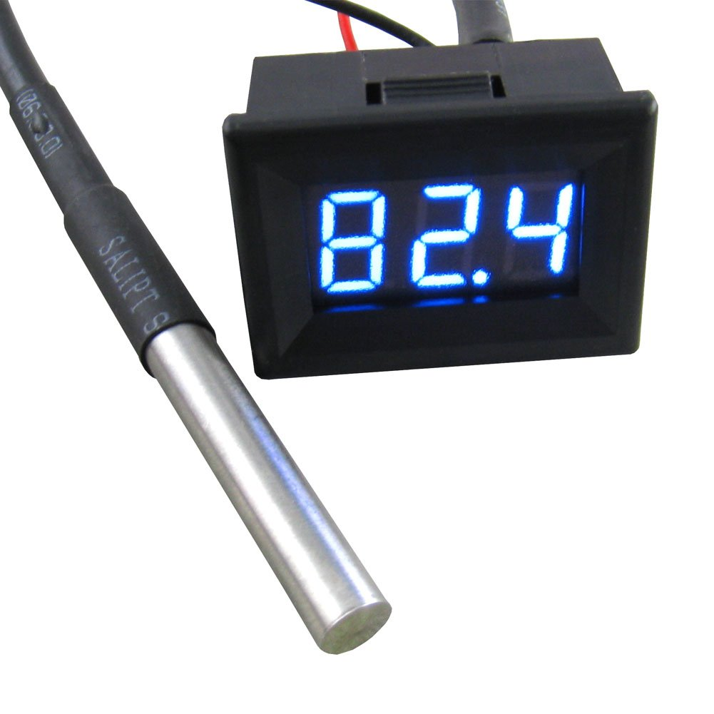 Yeeco 0.36'' -55-125°C Blue LED Digital Thermometer Temperature Gauge Panel Black Shell Temp Measure with 18B20 Waterproof Temp Sensor for pond/car/Refrigerator/Aquarium