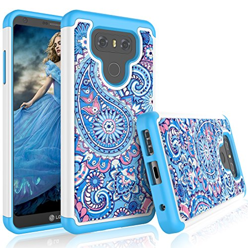 - LG G6 Case, LG G6 Case for Girls, Tekcoo [Tmajor Series] Retro Pattern Lovely [Paisley Blue] Bling Crystal Studded Rhinestone Adorable Rubber Plastic Sturdy Bumper Cases Cover for LG G6 2017