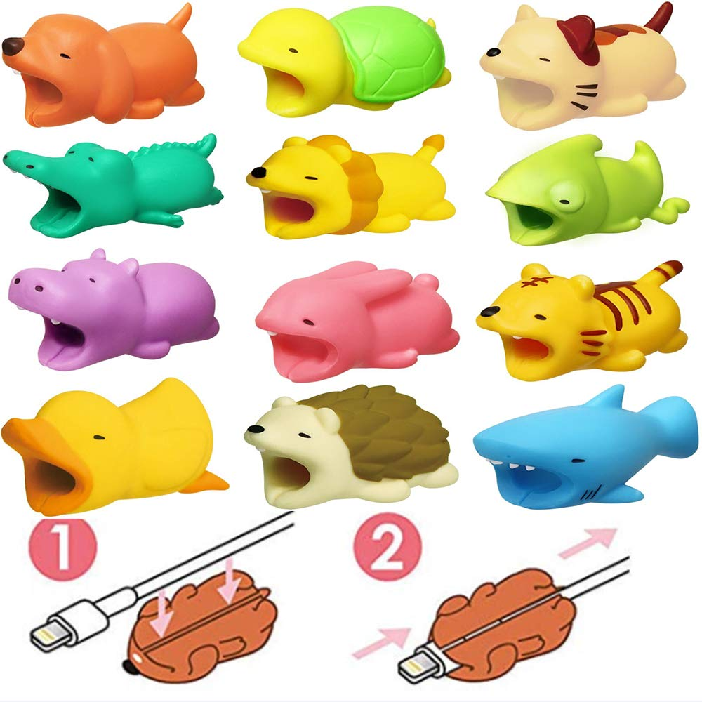 SYNN Cable Protector Sleeve Cute Animal Bite Cable Accessory Cable Saver Cable Cord Protector Compatible Cable Protector iPhone Ipad iPod (6pcs Multi-Colored)