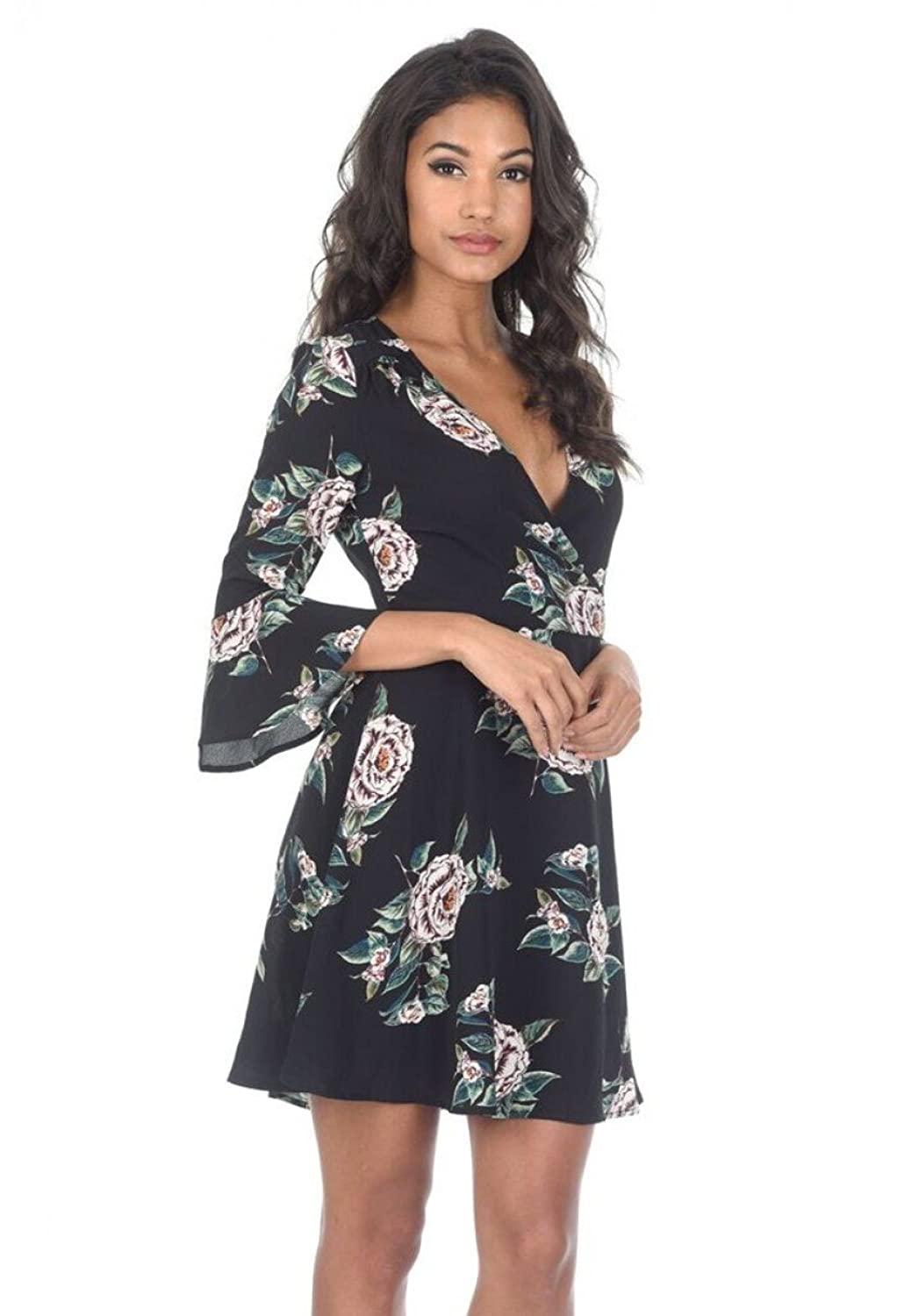 5c86f6cb562b As floral V neck bell sleeve dress is an essential for your summer wardrobe  the off the shoulder style gives a really chic feel. Pair with chunky boots  for ...
