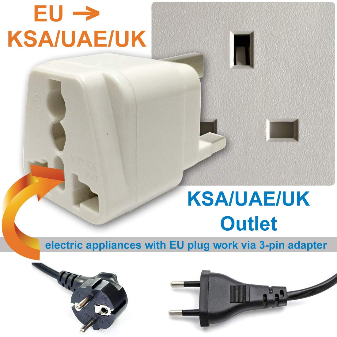 Travel Adaptor (1*for UK 3-pin with Fuse)
