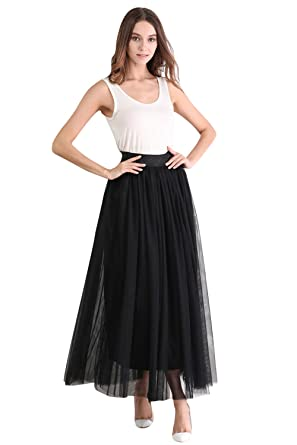 Babyonlinedress Falda negro larga de tul estilo simple y clásico ...