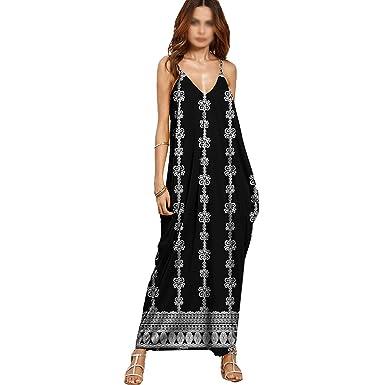 LA HAUTE Women V-Neck Floral Printed Spaghetti Strap Long Maxi Dresses Summer Boho Loose