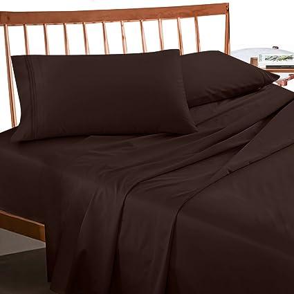 Premium Queen Sheets Set   Dark Brown Chocolate Hotel Luxury 4 Piece Bed  Set,