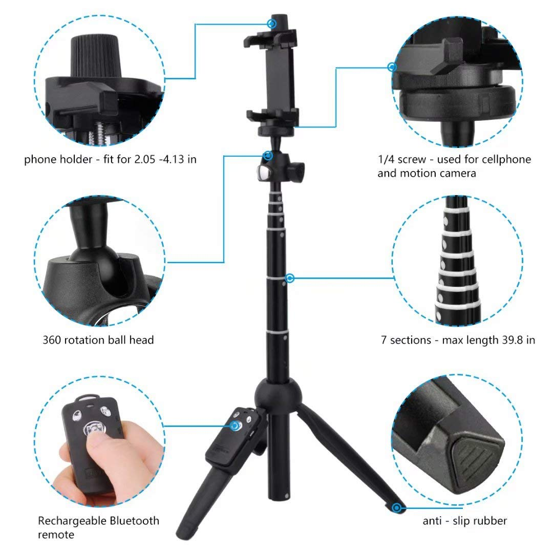 Selfie Stick Tripod,45 Inch Extendable Selfie Stick Tripod with Wireless Remote Control for iPhone 6 7 8 X Plus,Samsung Galaxy S9 Note8 Gopro