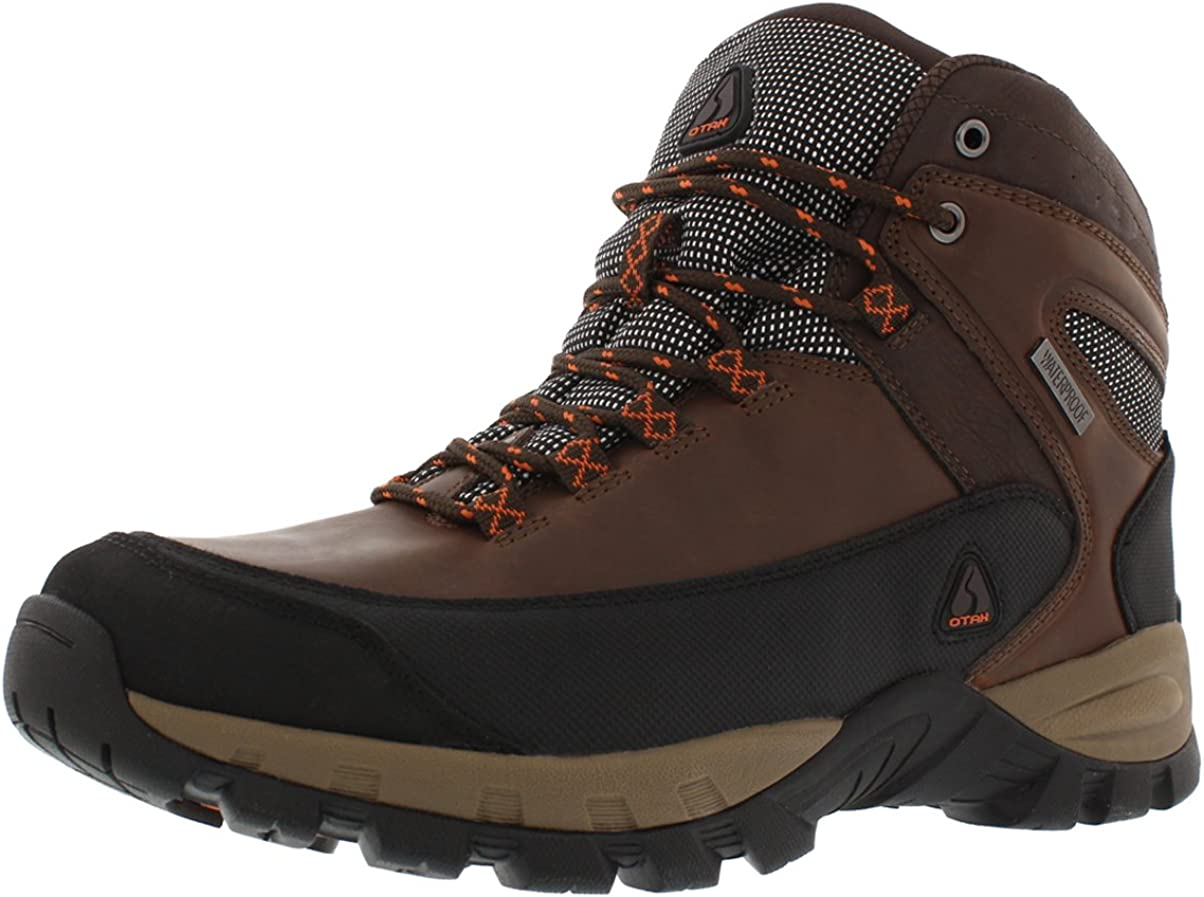 OTAH Forestier Men s Waterproof Hiking Mid-Cut Brown Black Boots