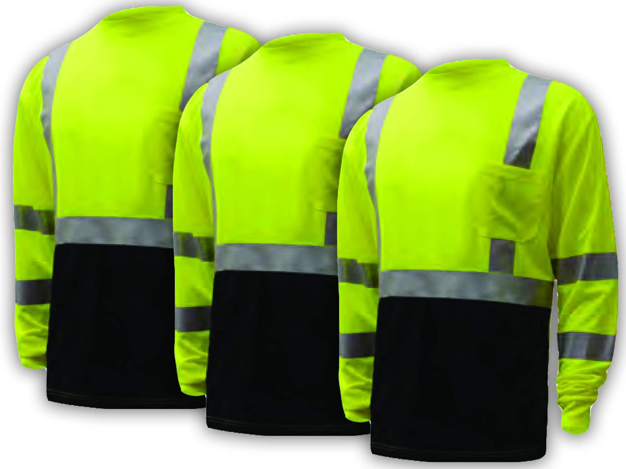 3 PACK Class 3 Long Sleeve Black Bottom T-Shirt (XL) GSS Safety