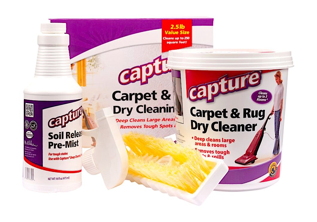 Capture Carpet Dry Cleaning Kit 250 - Resolve Allergens Stain Smell Moisture from Rug Furniture Clothes and Fabric, Mold Pet Stains Odor Smoke and Allergies Too Miliken