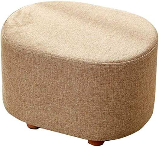 Foot Stool Change Shoe Stool Pouffe Chair Ottoman Fabric Cover 4 Legs and Removable Linen Cover Seat Upholstered Footrest with Cushion for Living Room Hallway Max,150KG 40x30x27cm