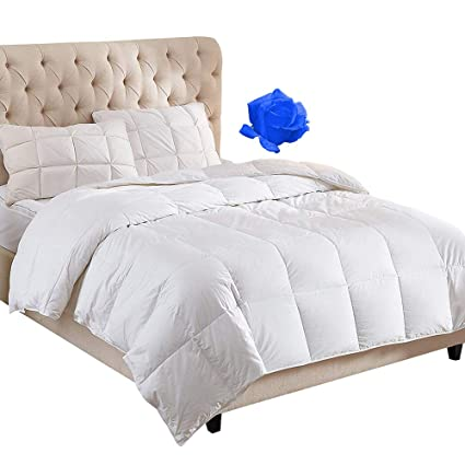 42700a0efc WhatsBedding 100% Cotton Down Comforter White Goose Duck Down and Feather  Filling