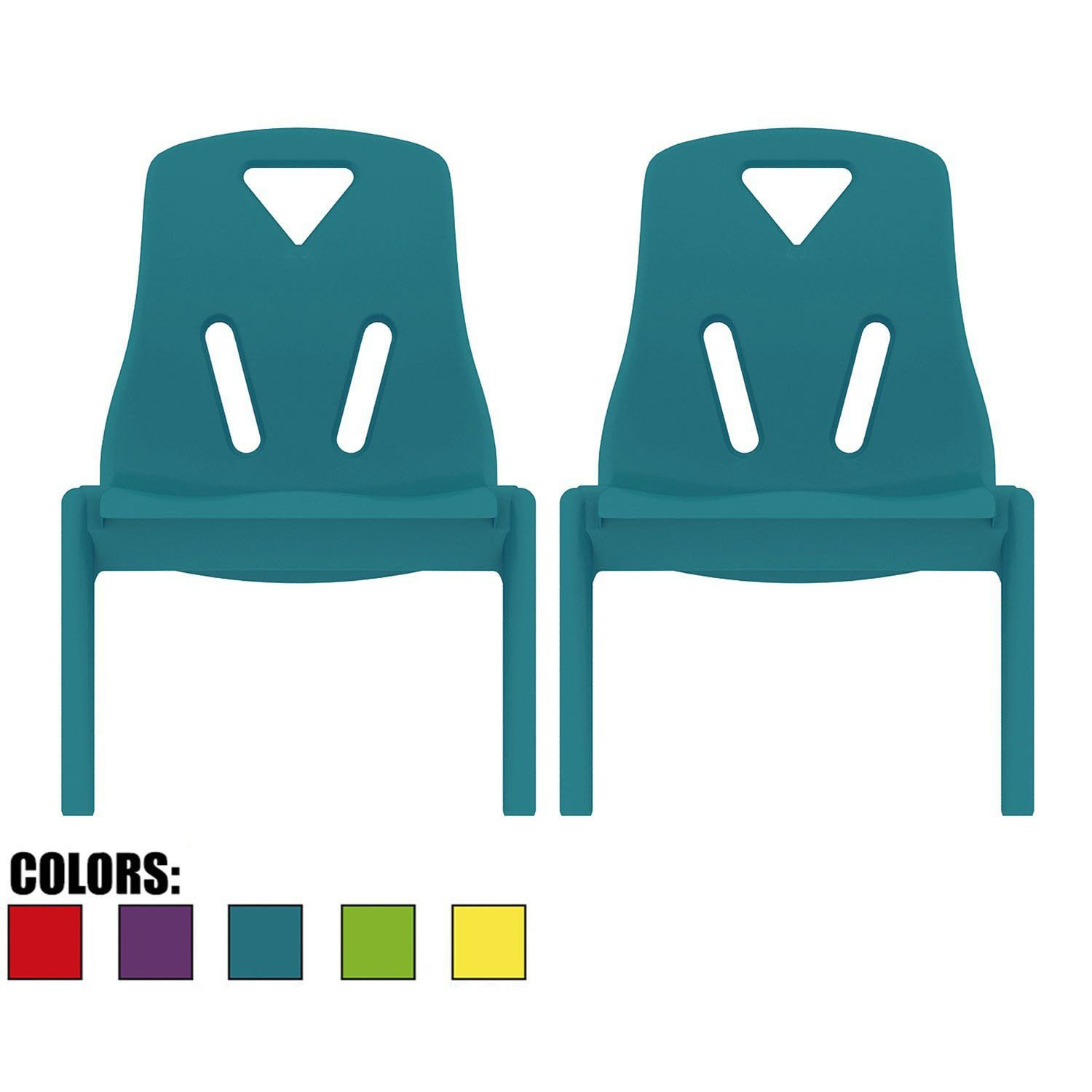 2xhome - Set of Two (2) - Teal - Kids Size Plastic Side Chair 10'' Seat Height Teal Childs Chair Childrens Room School Chairs No Arm Arms Armless Molded Plastic Seat Stackable