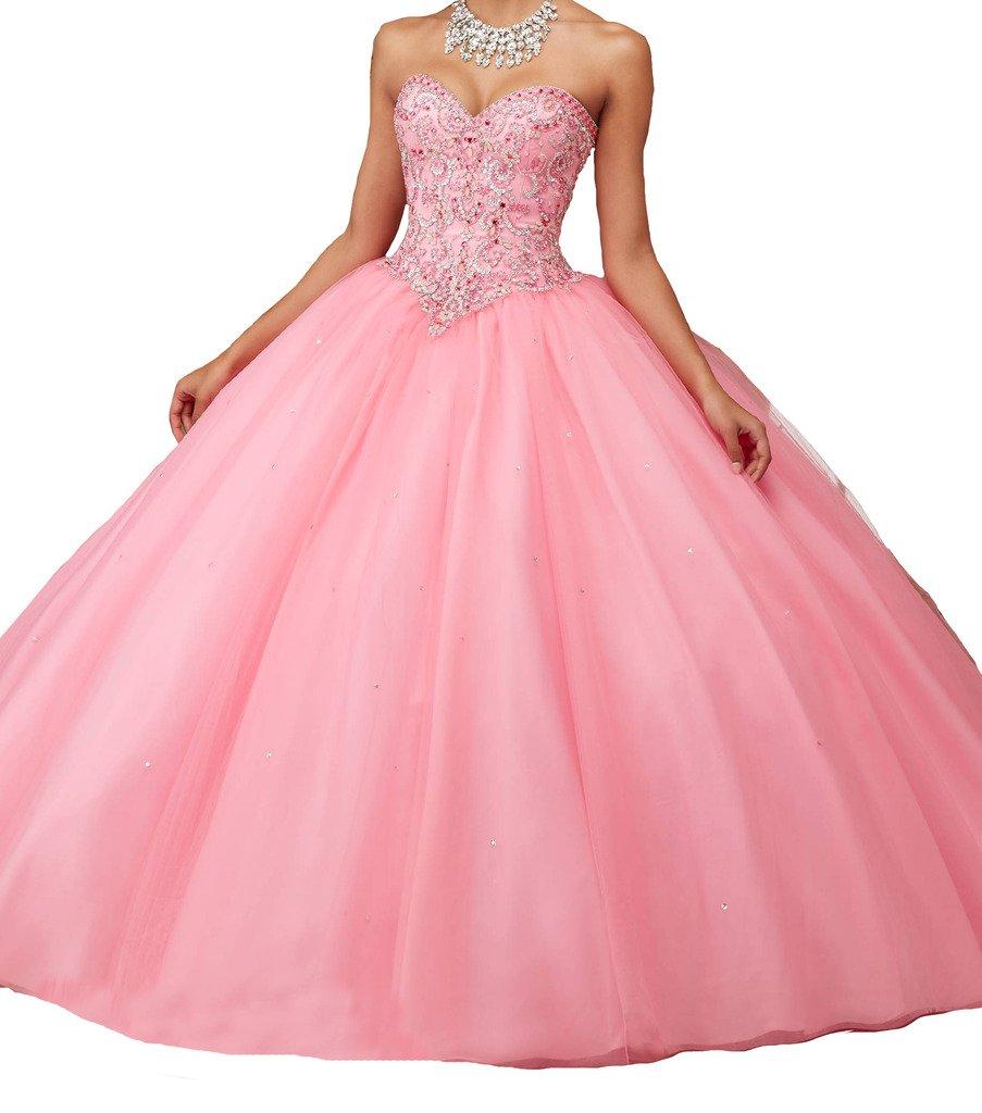 BoShi Women's Custom Made Beads Wedding Party Christmas Quinceanera Dresses 18 US Pink