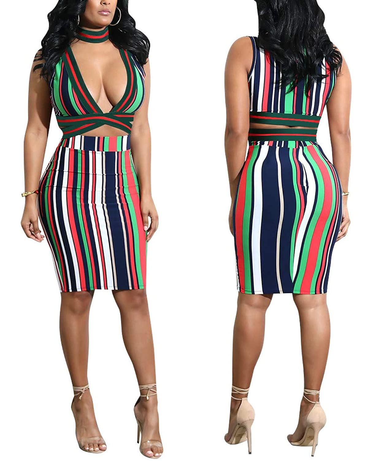 94da4935fb3d Criss cross bandage,cute mini dress,stripe,sexy crop bra and midi skirt,slim  fit abvoe knee dress,crop top and pencil skirt two piece sets