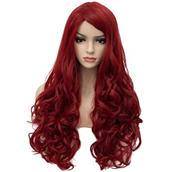 buy best the best cheap sale Aosler Women's Wine Red Long Wig,28 Inches Wavy Curly Synthetic Hair Wigs -  Heat Resistant Cosplay Party Costume Wigs for Halloween