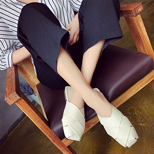 White Kick Headwear Wear Summer And Women'S Sandals Thick Hollow In A Comfort Crust Spring Cool Slippers Lazy Women'S Wild EwnUHzpq8z