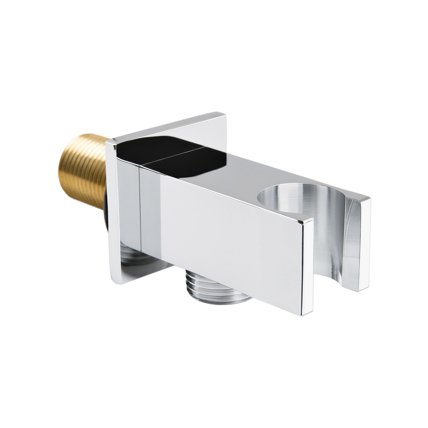 iBathUK Round Chrome Shower Water Outlet Brass Elbow Hose Connector with Handset Holder SC02