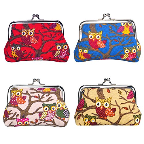 Pouch Canvas Purse Clasp Closure Owl Pattern Wallet Christmas Birthday Gift (4 pack owl) ()