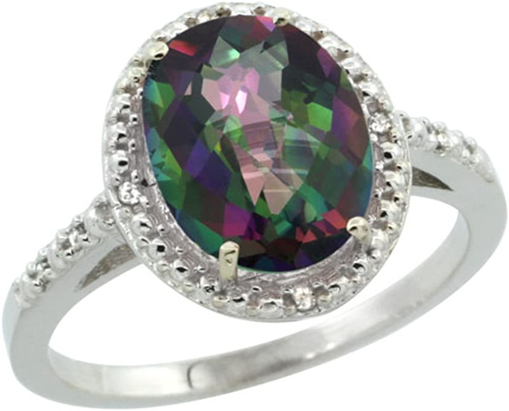 Sterling Silver Outlet sale feature Diamond Mystic Topaz Ring Beauty products 10x8mm inch 2 1 Oval
