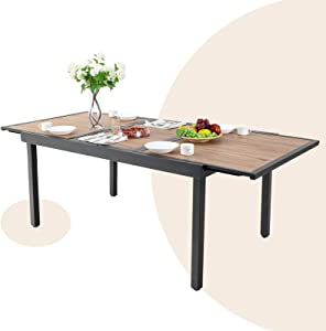 MFSTUDIO 7-9 Person Outdoor Expandable Rectangle Table Patio Dining Table with Wood-Like Surface Top for Deck,Garden,Courtyard and Indoor,Black Metal Frame