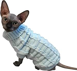 LUCKSTAR Cable Knit Turtleneck Sweater - Cats Sweater Pullover Knitted Clothes Pet Sweater for Small Dogs & Cats Kitten Kitty Chihuahua Teddy Knitwear Cold Weather Outfit (XS)