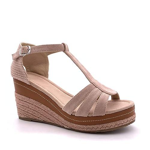 1b54aea0 Angkorly - Zapatillas Moda Sandalias Alpargatas Correa de Tobillo  Plataforma Mujer Cuerda Trenzado Tanga Plataforma 9 CM: Amazon.es: Zapatos  y complementos