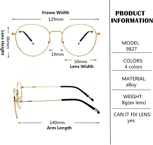 Langford Retro Round Unisex Full Metal Frame Eyewear Glasses 50mm Clear Lens With Case Cleaning Cloth 9827