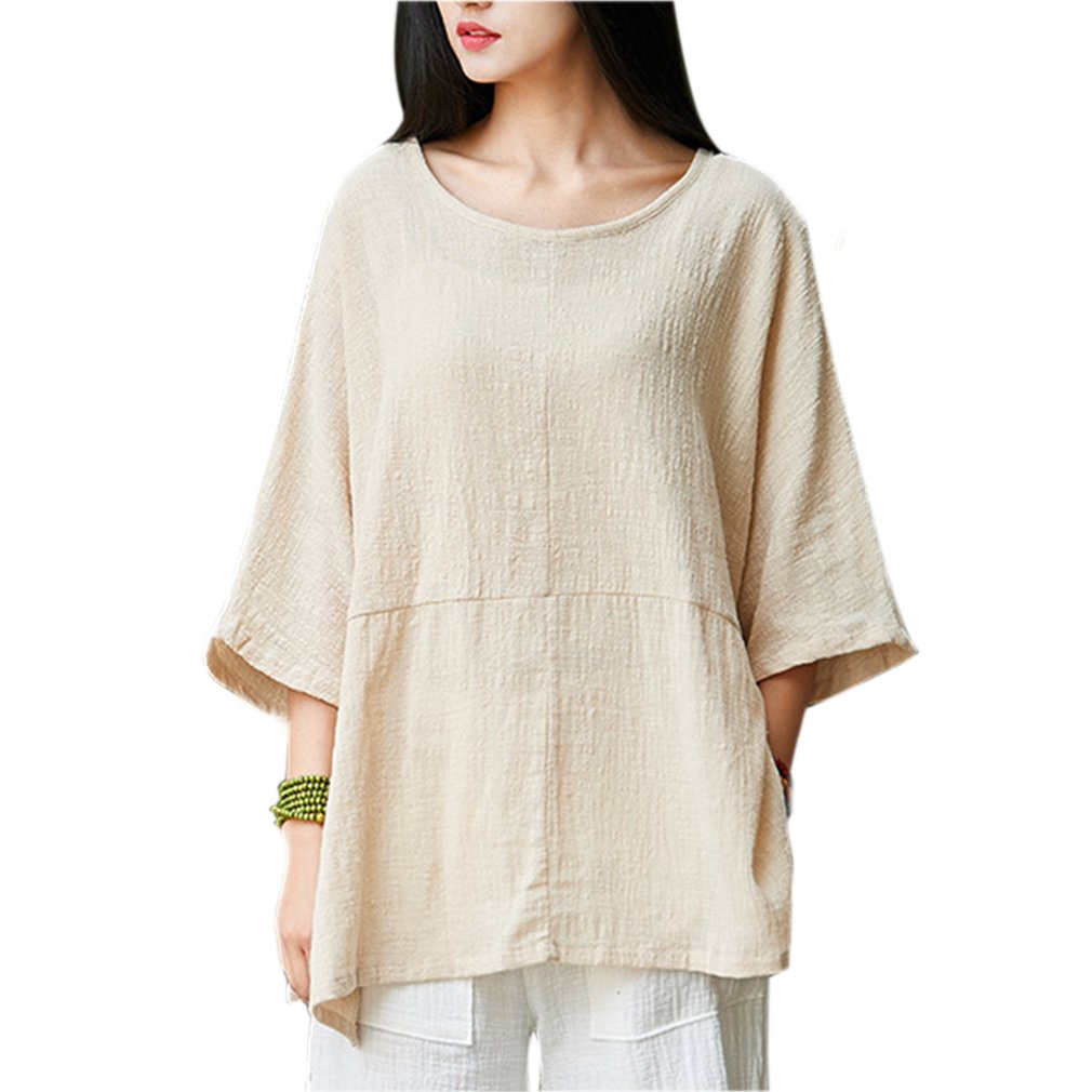 6d72166b0c3ae Gordon women casual loose short sleeve round collar cotton linen jpg  1010x1010 Linen tops