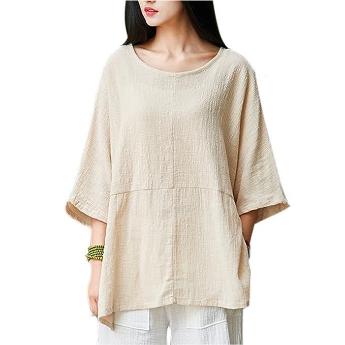 112b5541819 Gordon Q Women s Casual Loose Short Sleeve Round Collar Cotton Linen Tops  Shirts Blouse T-