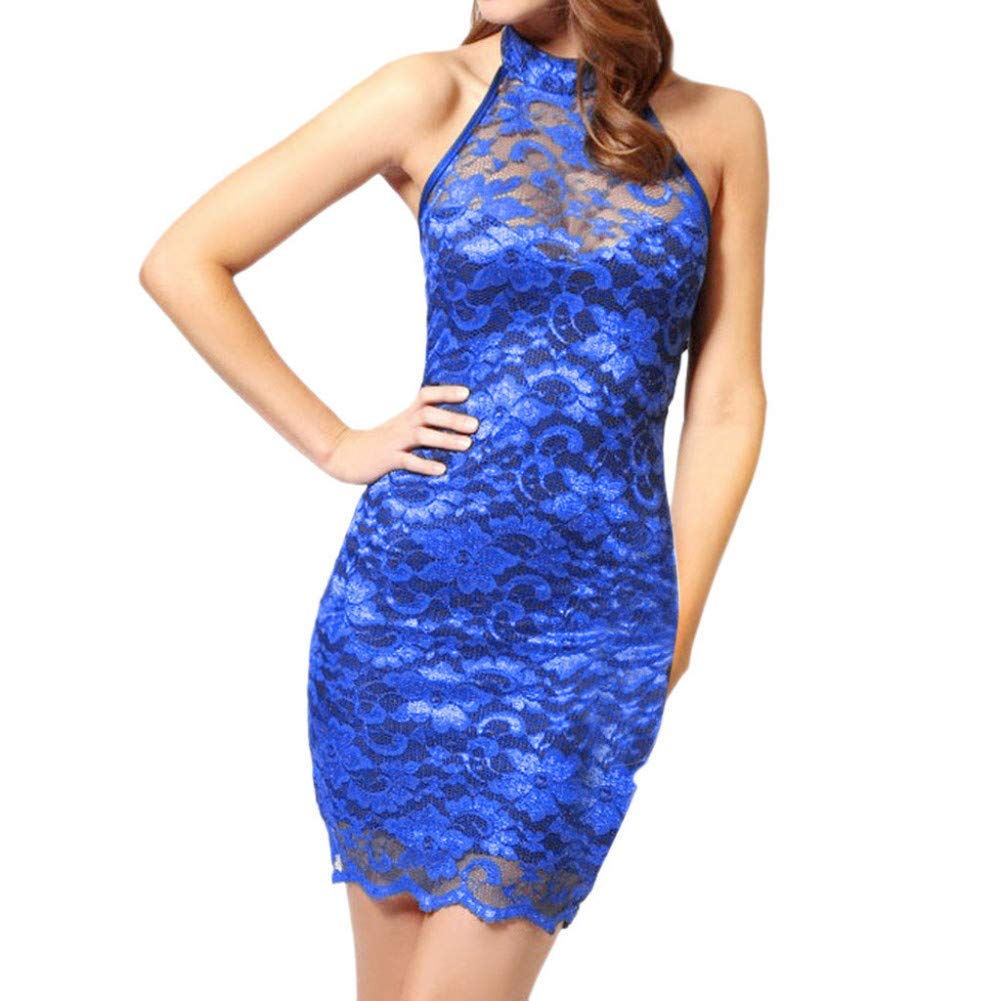 MBSDDH Dress Women Lace Slim Elegant Halter Collar Party Dress