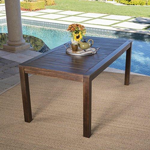 Cheap Marin Dark Brown Acacia Wood Outdoor Dining Table