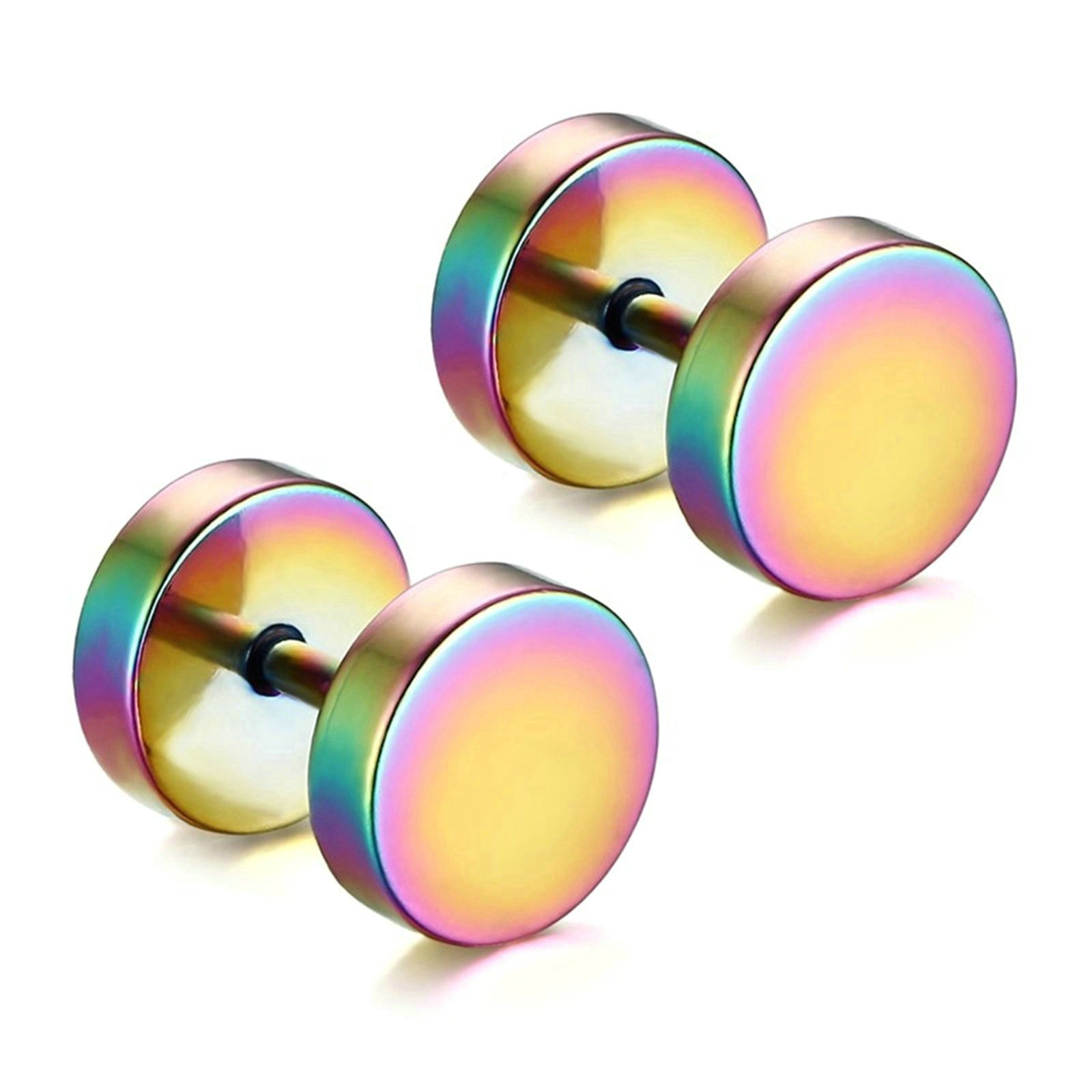 Aooaz Unisex stainless steel Earrings Round Stud Earrings 11MM Screw Back Multi Color