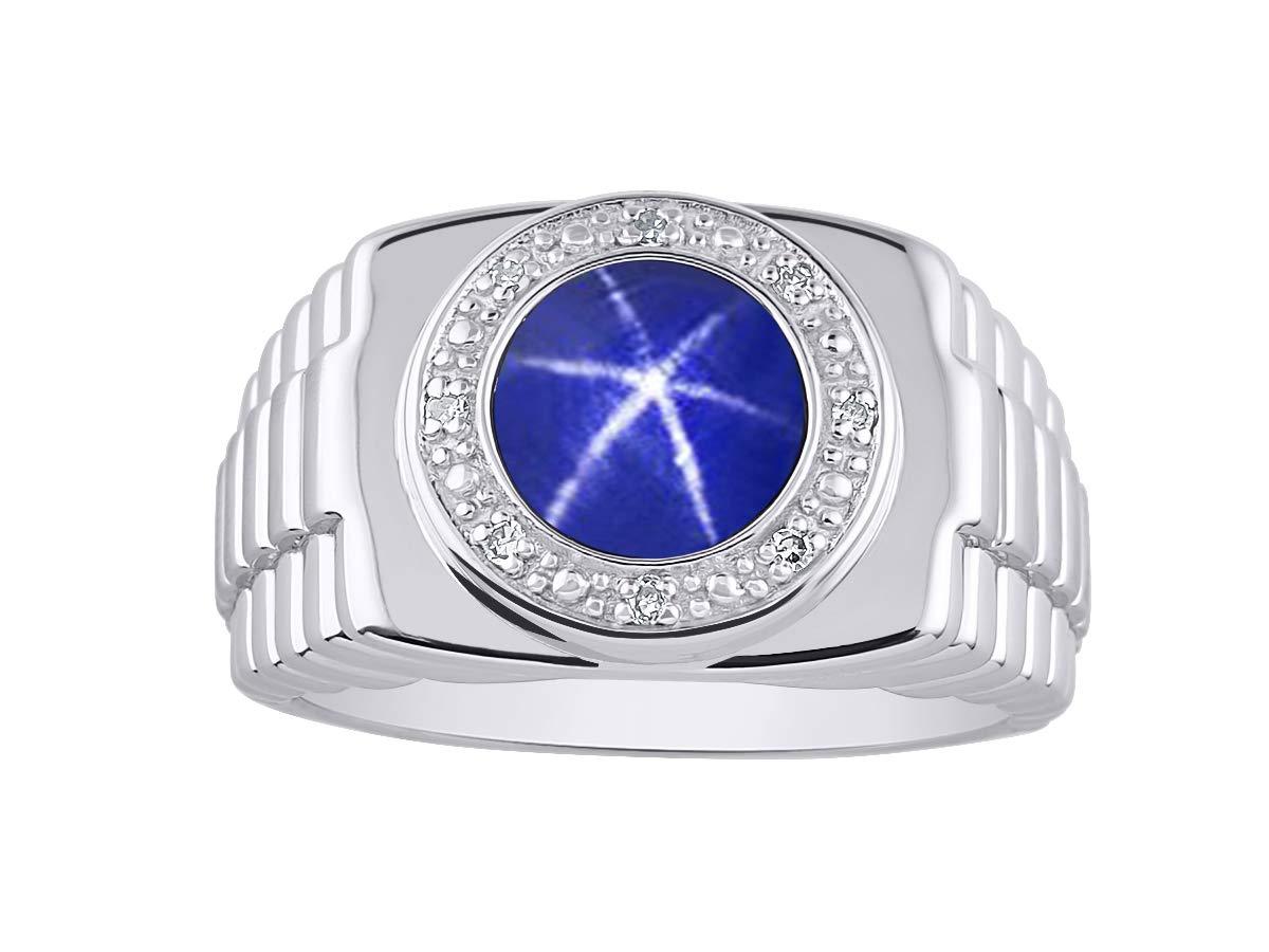 RYLOS Simply Elegant Beautiful Blue Star Sapphire & Diamond Ring - September Birthstone by Rylos