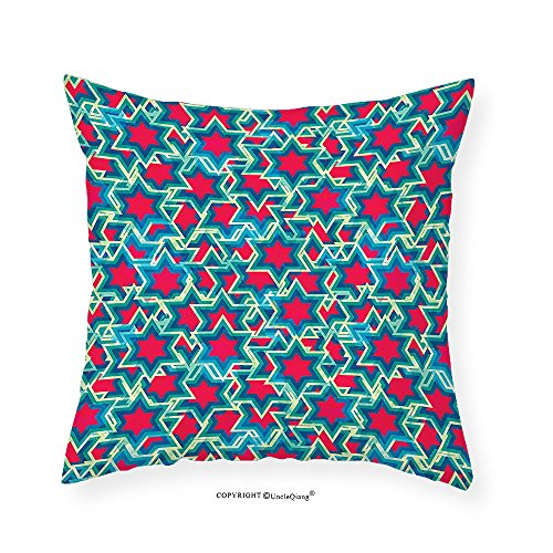 Vroselv Custom Cotton Linen Pillowcase House Decor Collection Retro Stars Pattern Mosaic Style Geometric Artistic Fun Bright Flashy Print Bedroom Living Room Dorm Red Green Navy 12 X12