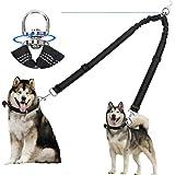 Corooci 2 Dog Leash, No Tangle 360° Swivel Rotation Heavy Duty Dog Lead for 2 Dogs, Ajustable Bungee Reflective Dual Dog Leas