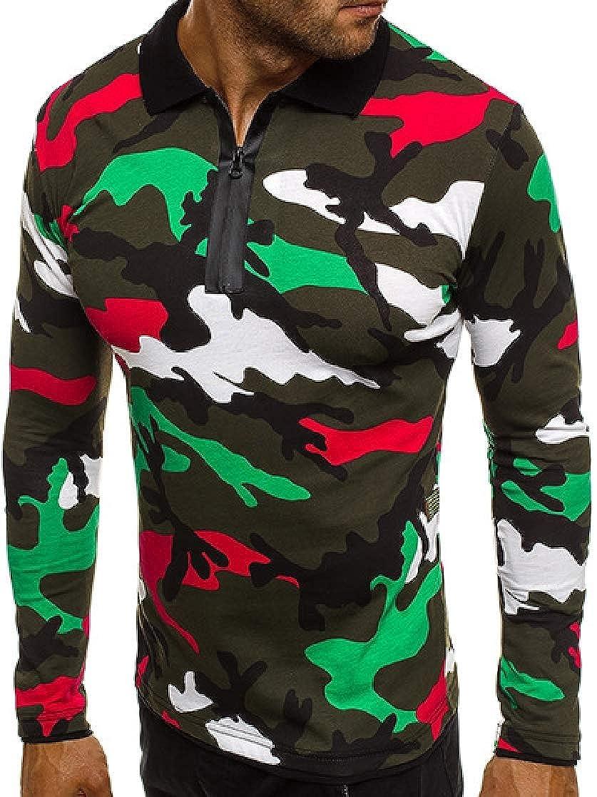 YUNY Men Fitness Turn Down Collar Printed Long-Sleeve Camo Polo Shirt AS1 XL