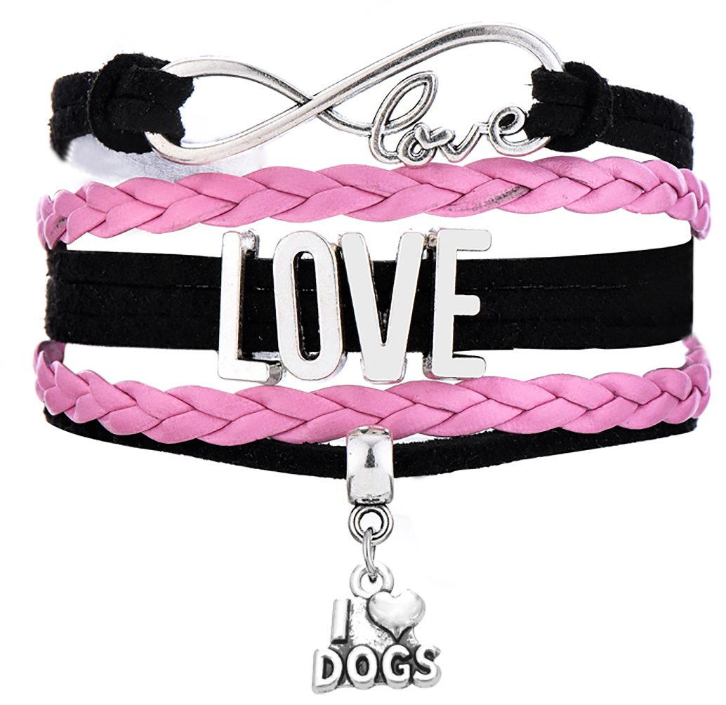 Legemeton LOVE Connect Multi-layer Braided Bracelets With I Love Dogs Charm Jewelry Accessories (Pink)
