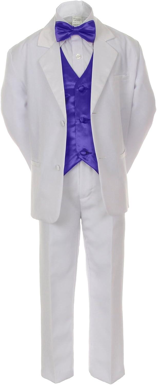 Unotux 7pcs Boys White Suits Tuxedo with Satin Purple Bow Tie Vest Set (S-20)