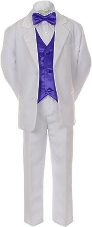 S-20 Unotux 7pcs Boys Black Suit Tuxedo Tail Turquoise Blue Bow Tie Cummerbund