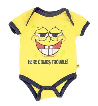 0cee62cd9757 Amazon.com  Spongebob Squarepants Trouble Yellow Baby Onesie Romper ...