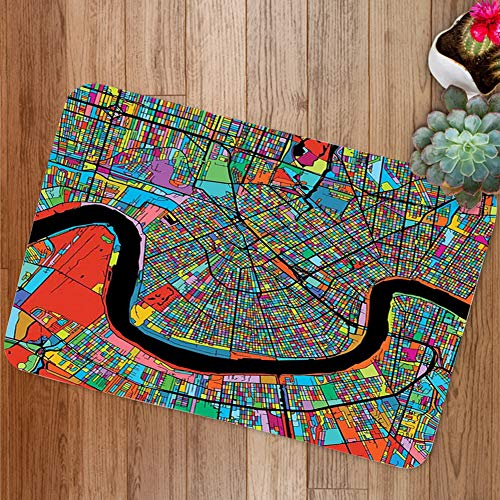 GULTMEE Doormat Mat, Colorful Map of City with Mississippi River Districts and Highways New Orleans, Plush Bathroom Decor Mat with Non Slip Backing, 31.5 W X 19.6 Inches (Map Of The Garden District In New Orleans)
