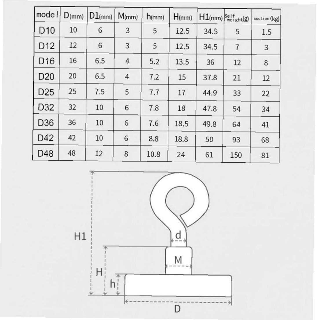 Lankater Magnet-runde Haken Ziehen Ringschraube Zubeh/ör 260lbs